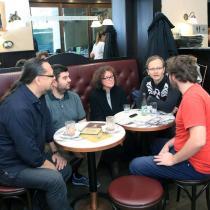 Redaktor Lukáš Novosad a my čtyři (zleva) já, Štefan Titka, Kateřina a Richard Klíčník